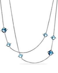 David Yurman Chatelaine Long Station Necklace With Hampton Blue Topaz Blue Topaz And Diamonds Purple Silver