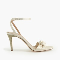 J.Crew Glitter Bow High Heel Sandals Ivory