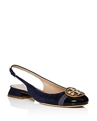 Tory Burch Alistair Slingback Low Heel Pumps Royal Navy Gold