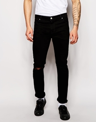 Asos Skinny Jeans With Knee Rips Black