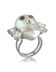 Bernard Delettrez Pearl Skull 18K White Gold Ring W Diamonds And White Sapphires