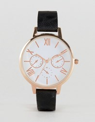 Asos Large Face Clean Dial Watch Black