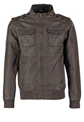 Petrol Industries Faux Leather Jacket Crude Oil Brown