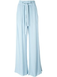 Raquel Allegra Belted Palazzo Trousers Blue