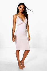 Boohoo Mesh Strappy Midi Bodycon Dress Blush