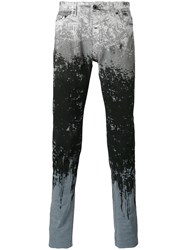 Diesel Black Gold Paint Splat And Stripe Skinny Jeans Black