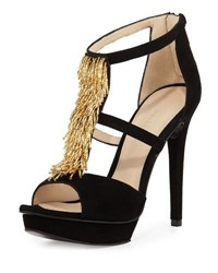 Pelle Moda Flint Beaded Suede Sandal Black