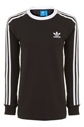 Adidas 3 Stripe Long Sleeve T Shirt By Originals Black