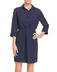 Aqua Knot Front Shirt Dress Navy