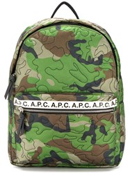 A.P.C. Camouflage Print Backpack Green