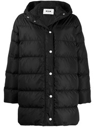 Msgm Hooded Padded Coat Black