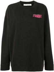 Off White Business Woman Embroidered Sweatshirt Black