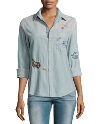 Mother Foxy Boxy Buried Treasure Embroidered Shirt Indigo