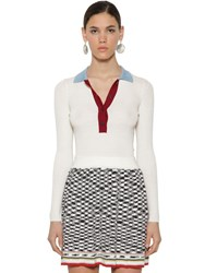 Missoni Polo Wool Ribbed Knit Sweater White