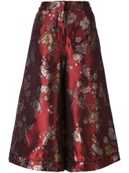 For Restless Sleepers Floral Print Cropped Palazzo Pants Red