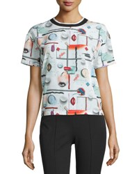 Opening Ceremony Niko High Gloss Printed Top White Multicolor