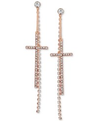 Guess Crystal Cross Front Back Earrings Rose Gold