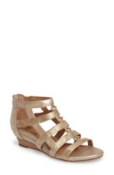 Sofft Women's Rio Gladiator Wedge Sandal Gold Leather