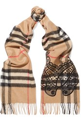 Burberry Embroidered Checked Cashmere Scarf Camel