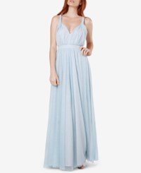 Fame And Partners Laurel Twisted Strap Tulle Gown Pale Blue