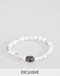 Simon Carter Beaded Bracelet With Swarovski Crystal Skull Exclusive To Asos White