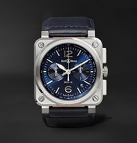 Bell And Ross Br 03 94 42Mm Steel Leather Chronograph Watch Navy