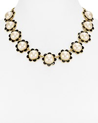 Kate Spade New York Floral Collar Necklace 16 White Black