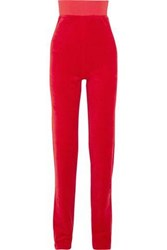 Vetements Juicy Couture Crystal Embellished Cotton Blend Velour Track Pants Red