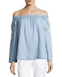 Neiman Marcus Off The Shoulder Chambray Peasant Top Blue