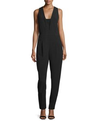 Milly Sleeveless V Neck Pleated Front Jumpsuit Black