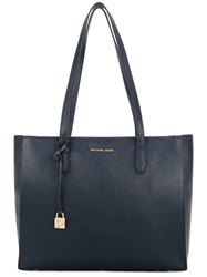 Michael Kors Logo Large Tote Bag Leather Blue