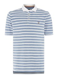 Howick Men's Hubbard Textured Stripe Polo Light Blue