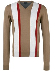 Lanvin Striped Jumper Brown