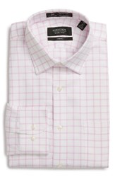 Nordstrom Men's Big And Tall Men's Shop Smartcare Tm Trim Fit Check Dress Shirt Pink Lavender