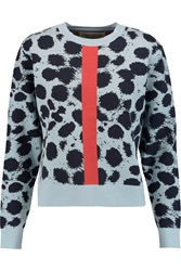 Etre Cecile Cheetah Print Intarsia Knit Sweater