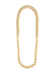 Chanel Vintage Ball And Chain Necklace Yellow Orange