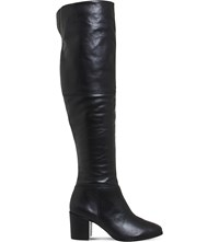 Office Know It All Leather Knee High Boots Black Leather