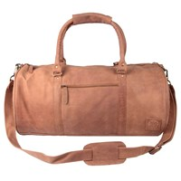 Mahi Leather Weekend Classic Duffle Holdall Overnight Gym Bag In Vintage Cognac Neutrals