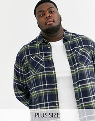 Soul Star Plus Fitted Check Shirt With Double Check Pocket Black