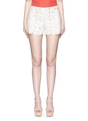 Alice Olivia 'Amaris' Floral Cutout Faux Leather Shorts White