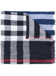Burberry Check Panel Scarf Men Linen Flax One Size Blue