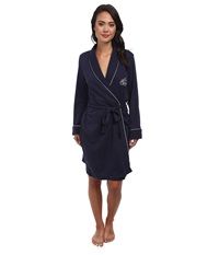 Lauren Ralph Lauren Hartford Lounge Short Shawl Collar Robe Windsor Navy Women's Robe Black