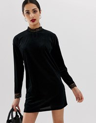 Only Keisha Ribbed Shift Dress With Lace Trims Black