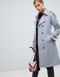 Boohoo Belted Wool Look Trench In Pale Blue Blue
