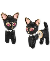 Betsey Johnson Gold Tone Cat Front And Back Stud Earrings