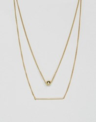 Pieces Hilli Gold Plated Multi Row Necklace Gold