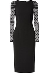Rachel Zoe Harper Crepe And Swiss Dot Tulle Midi Dress Black