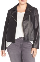 Plus Size Women's Michael Michael Kors Washed Leather Moto Jacket