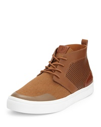 French Connection Catcher Perforated Leather Sneaker Cognac