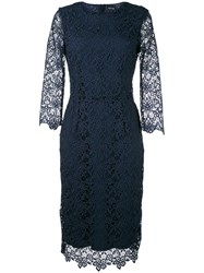 Ermanno Ermanno Fitted Dress Women Polyester Viscose 44 Blue